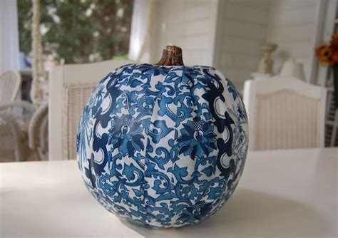 Decoupage Pumpkins - decoupage a blue and white pumpkin