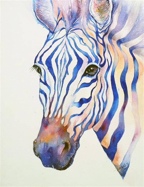 watercolor tattoo zebra awesome zebra with blue watercolor stripes design