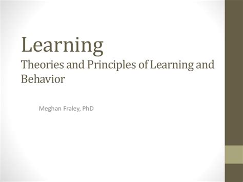 the principles of learning and behavior learning theory