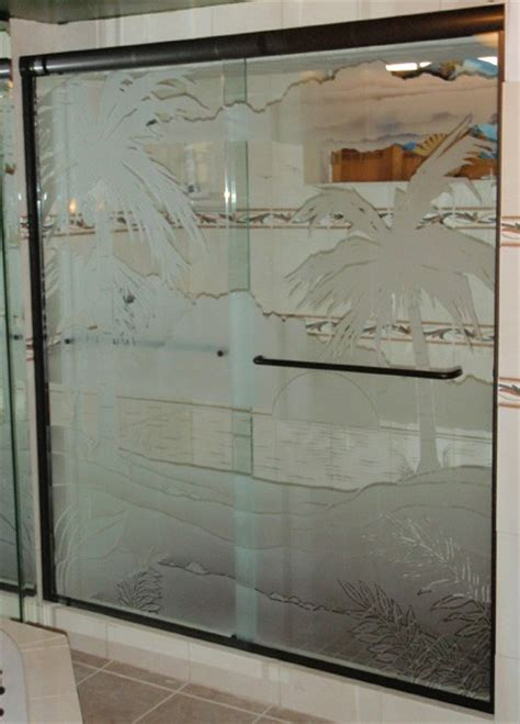 Sliding Etched Sandblasted Shower Doors Creative Sandblasted Glass Shower Doors
