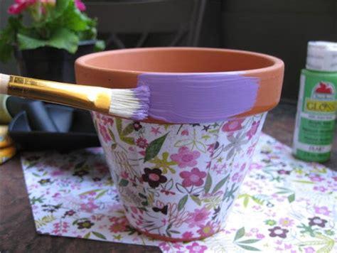 Decoupage Pots - planet how to decoupage flower pots