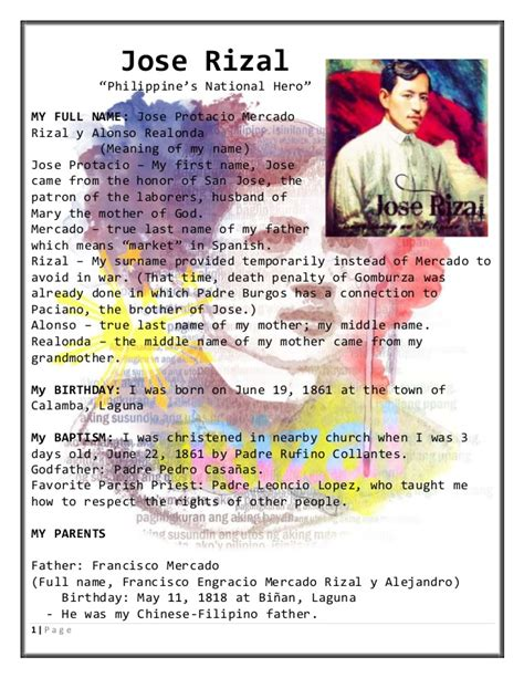 biography meaning in filipino life and works of rizal simple biodata complete