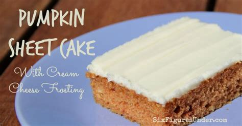 pumpkin sheet cake with cream cheese frosting six