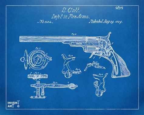 1839 colt fire arm patent artwork blueprint digital art by