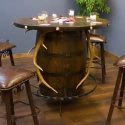 Rustic Bistro Table And Chairs Western Rustic Pub Tables Home Bar Home Bar Whiskey Barrels Antlers And Elk