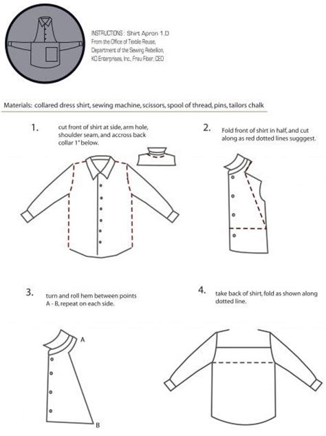 pattern for apron from men s shirt shirt apron instructionspage 1 patterns cooking and belt