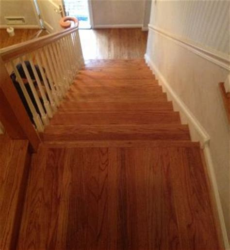 refinishing and staining a hardwood floor staircase cherry