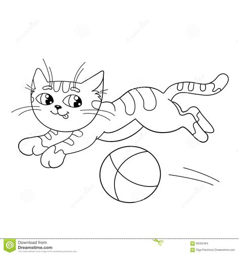 cats playing coloring pages coloring page outline of a fluffy cat playing with ball