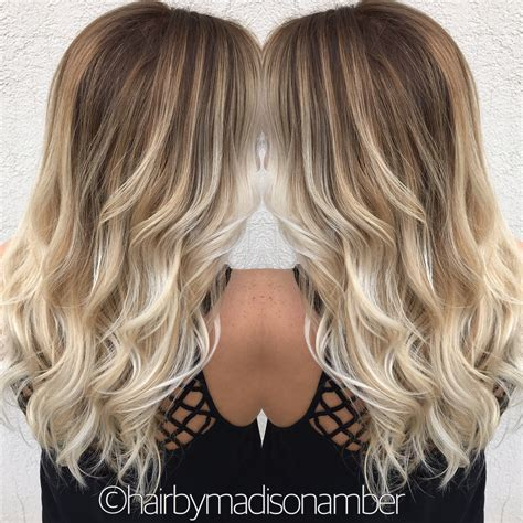light brown and platinum blonde ombre hair balayage ombr 233 platinum blonde long hair