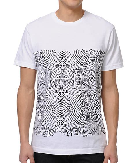 white t shirt with pattern pocket volcom pattern nation white pocket t shirt
