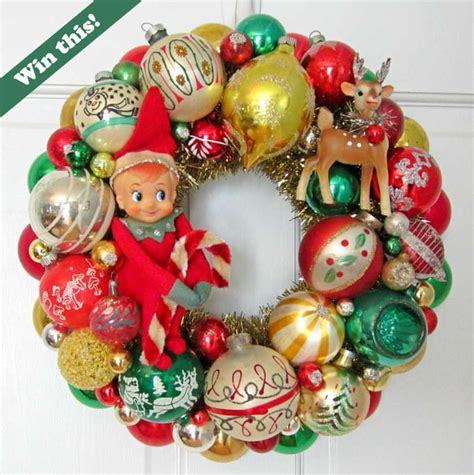 win this vintage christmas ornament wreath made by georgia