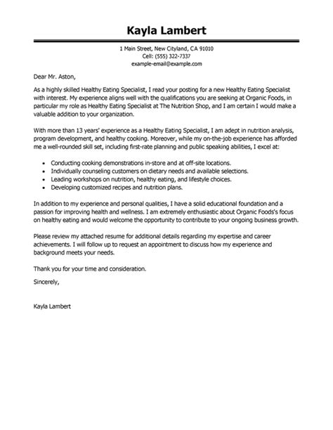 Dietitian Assistant Cover Letter by Best Education Food Specialist Cover Letter Exles Livecareer
