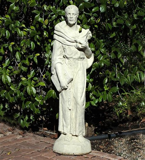 stone tall vintage st francis garden art plow hearth