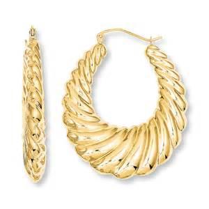 gold hoop earings jared scalloped hoop earrings 14k yellow gold