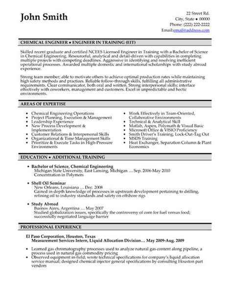 chemical engineering resume format chemical engineer resume sle template