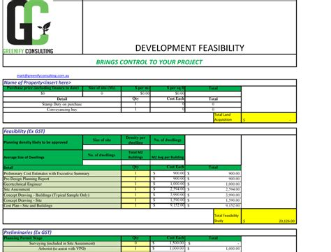 feasibility study template developing your land greenify consulting