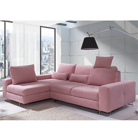 Modern Fabric Corner Sofas Astrid Modern Fabric Corner Sofa Bed In Pink With Storage