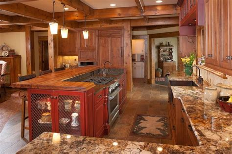 mullet cabinet rustic kitchen retreat showcasing knotty