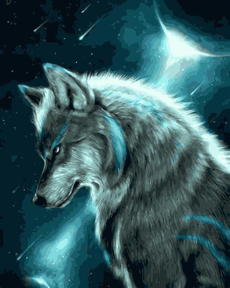 mahuaf  painting  numbers wolf animal diy oil