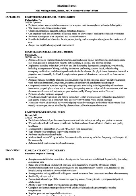 registered med surg resume sles velvet