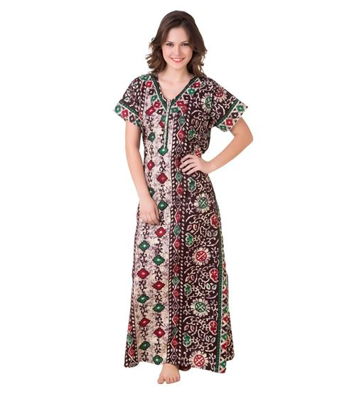 nighty dress with price buy masha brown cotton nighty online at best prices in
