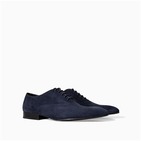 suede oxford shoes zara suede grosgrain oxford shoe in blue for navy