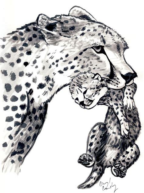 sketchbook cheetah cheetah carrying cub by silvercrossfox on deviantart