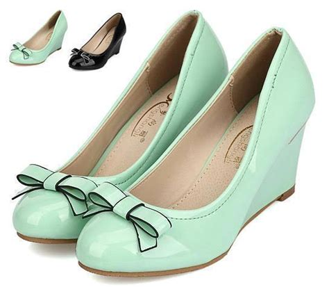 Wedges Black 7cm color mint green shoes with bowtie fashion
