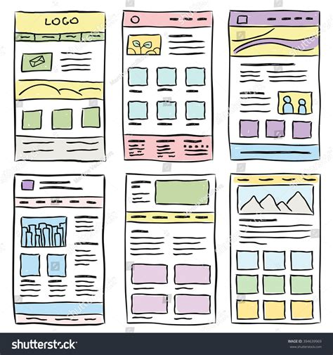 layout web sketch hand drawn website layouts doodle style stock vector