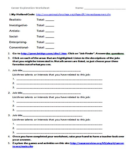 Career Worksheets For Middle School by The Inspired Counselor Career Exploration Lessons Webquest