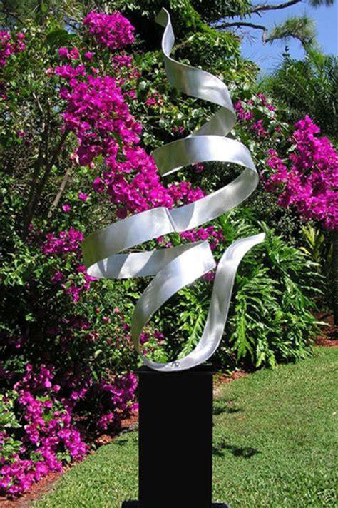whisper silver modern metal garden sculpture indoor