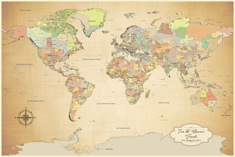map your travels world map cotton anniversary world push pin map color