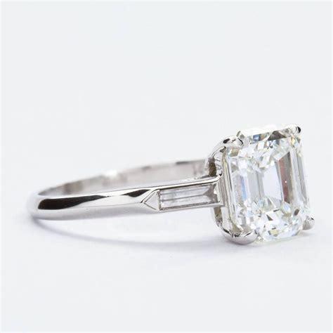 2 50 carat emerald cut platinum engagement ring