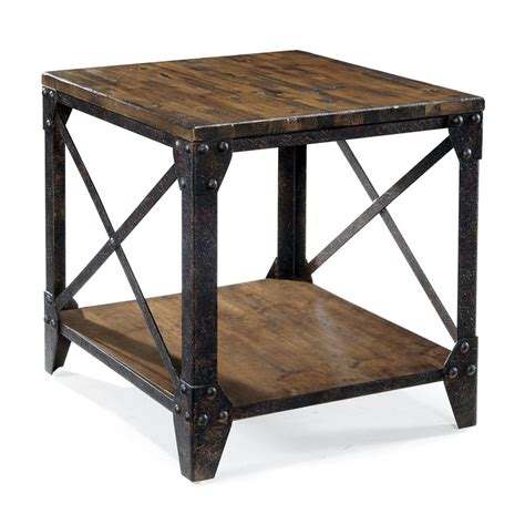 magnussen fleming rectangular end table in rustic pine shop magnussen home pinebrook distressed natural pine