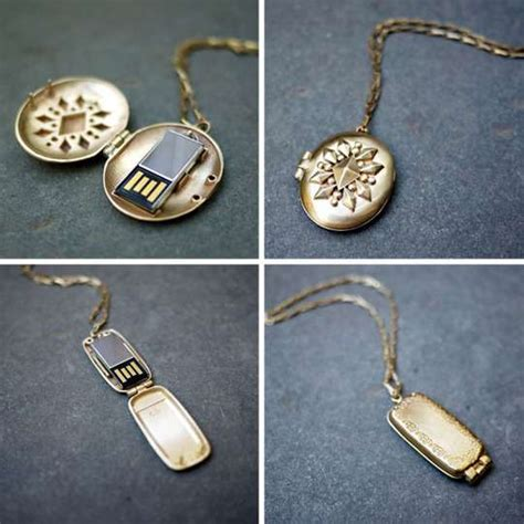 delicate flash drive necklaces usb lockets by emily