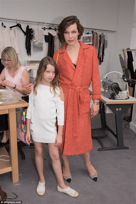 milla jovovich daughter milla jovovich with daughter ever gabo at chanel s paris