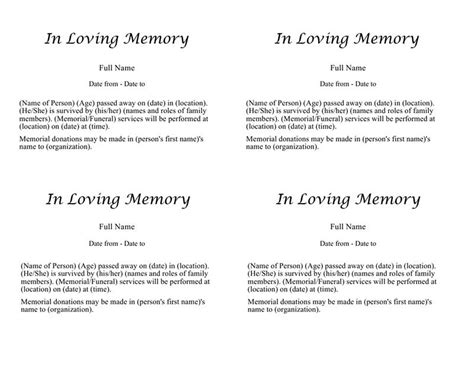 printable obituary template obituary templates fill in pictures to pin on