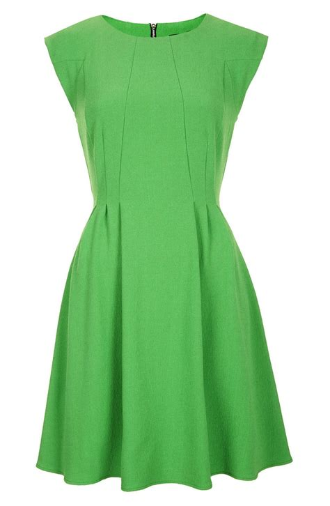 Green Flare Dress topshop crepe fit flare dress in green lyst