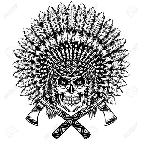 indian chief skull tattoo 30728321 american indian chief skull with tomahawk stock
