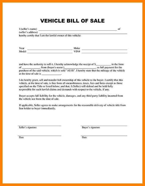simple bill of sale for car template 12 simple vehicle bill of sale lease template