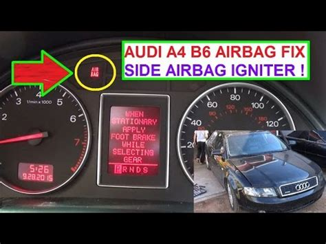 audi a4 b6 airbag light on fix side airbag igniter air