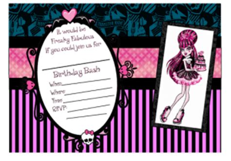 monster high printable party decorations 6 best images of printable monster high invitations