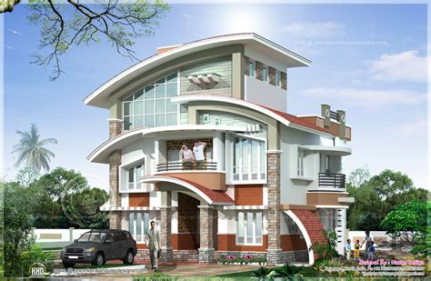 Home Interior Arch Designs by New Arch Type 3 Storey Home Elevation Kerala Home Design