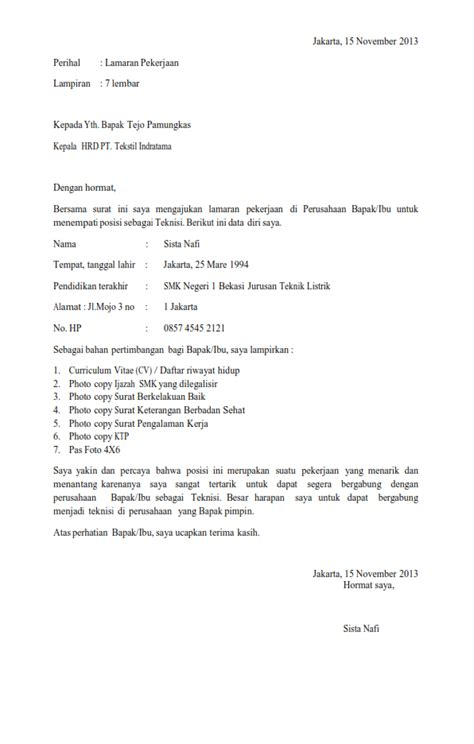 surat lamaran kerja lulusan snk ben contoh