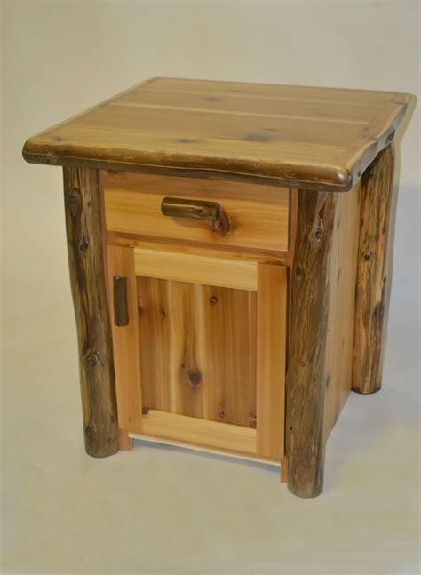 Cedar Nightstand by Timberland Cedar Log Nightstand 1 Drawer 1 Door Two