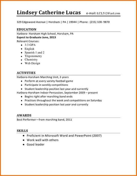 Resume Template Basic High School Simple Resume Jennywashere