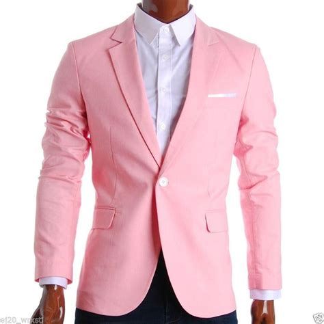 Jaket Hk Pink flatseven mens slim fit cotton stylish casual blazer