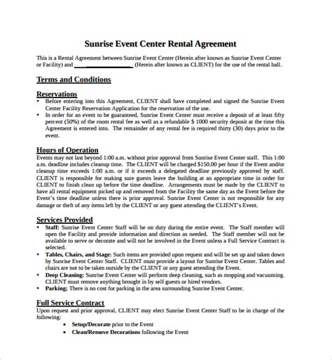 event space rental contract template simple rental agreement 10 free documents in