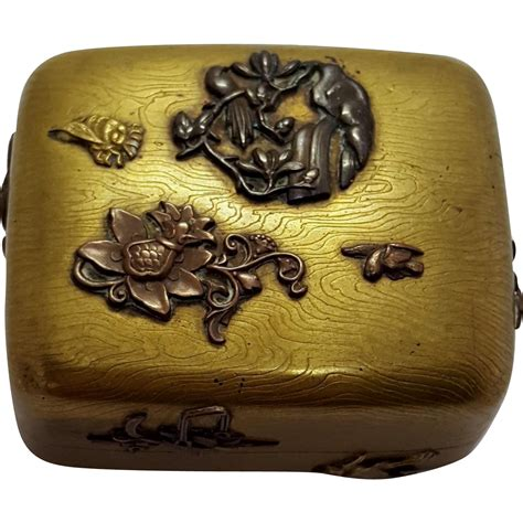 antique bronze mixed metal japanese hinged box modernism