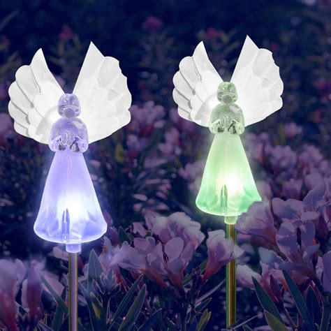 angel solar lights outdoor solar fairy angel lights color changing garden decor